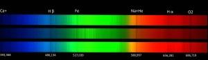Spektrallinien der Sonne, die zeigen, dass es vor unserer Sonne schon eine Ursonne auf Grund von Ca-, Na- und Fe-Vorkommen auf unserer Sonne gegeben hat.